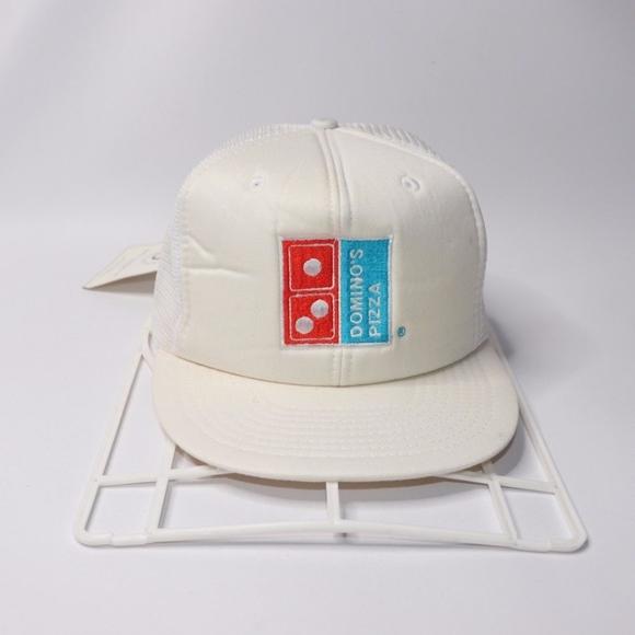 76f0bb4fb Vintage New Dominos Pizza Mesh Trucker Hat White NWT